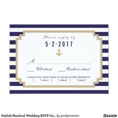 Stylish Nautical Wedding RSVP Card Meal Choice Customize this stylish modern Nautical Wedding RSVP Card, designed with custom meal choice. Blue and white striped design, set as a template for an easy customization. Below are links to a matching Wedding Invitation, Program Card, Directions Cards, Bridal Shower Invitation, Rehearsal Dinner Invitation and Thank You Tag Cards and Favor Stickers. Together they make a beautiful Wedding Collection.