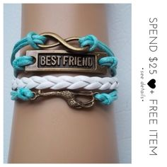 • Bestfriend Giraffe Infinity Bracelet • A great gift for yourself or loved ones! Slip this beautiful handcrafted bracelet onto your wrist! Add a wonderful complement to your personal style. Measures approx 7 inches with 2 inches extender, lobster clasp closure, made with alloy. Color may be slightly different from the actual item due to the lighting. Bundle and save! :)  + gives discount on bundles | + 30% off for return customers | + ships the next day | + feel free to make a reasonable…