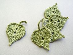 5 Crochet Leaf Appliques Olive Green Birch от CaitlinSainio