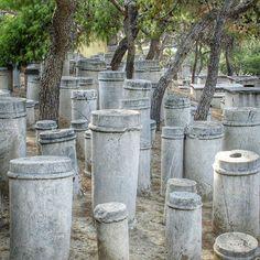 "A Greek column ""graveyard"" near the old Athens city wall. by postcardsandpassports"