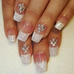 Wedding beautiful and elegant nail designs 00054 Elegant Nail Designs, White Nail Designs, Pretty Nail Designs, Elegant Nails, Classy Nails, Cute Nails, Pretty Nails, Nail Art Designs, Nails Design