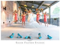 jump shot in coral gowns with turquoise accents | cotton room wedding : nathan + tiffany :: silver feather studios : photo + video