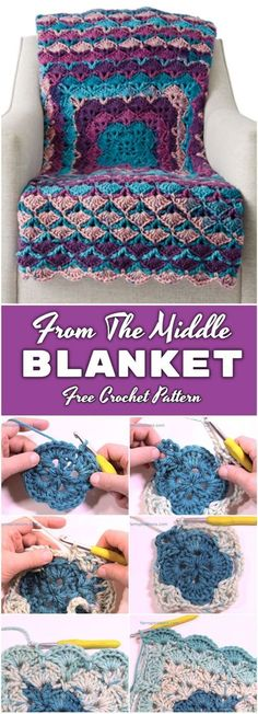 Learn to crochet from the middle blanket. Crochet blankets come in many different shapes and styles. Some of them are made of joined motifs some of them are worked in rows. Also there are blankets t Crochet Afghans, Motifs Afghans, Crochet Squares, Afghan Crochet Patterns, Baby Blanket Crochet, Crochet Baby, Crochet Blankets, Stitch Patterns, Crochet Stitches