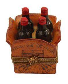 Crate of Four Wine Bottles Limoges Box