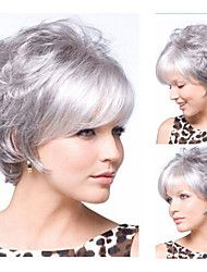 New arrivals Synthetic hair Silver gray short Curly hair wig Free shipping