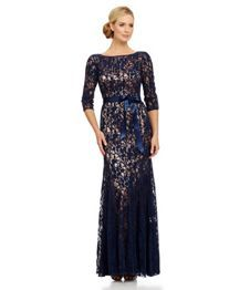 JS Collections Paneled Lace Gown