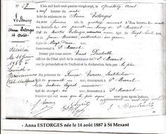 Acte de naissance et transcription du décès de Rirette Maitrejean (née Anna Estorges), compagne de Victor Kibaltchice.