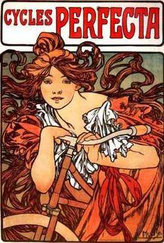 Alphonse Mucha, art nouveau, bicycle poster