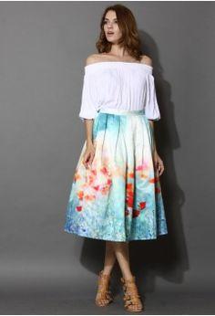 Poppy Flower Print Midi Skirt - Buyer's Pick - Retro, Indie and Unique Fashion