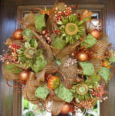Glitzy Fall Deco Mesh Wreath with Glamour Rope