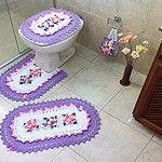 Jogo de Banheiro Rosa e Lilás – 4 peças
