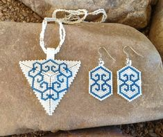 White and Blue 6 Hearts Triangle Choker by DoubleACreations