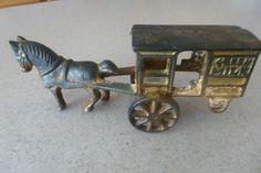 Metal Cart, Horse Drawn Wagon, Fresh Milk, Cast Iron, Toy, Horses, Antiques, Inspiration, Antiquities