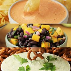 These no-cook summer dips are as easy as they are delicious! Throw these together for your next game day party Dip Recipes, Summer Recipes, Cooking Recipes, Cooking Beef, Cooking Broccoli, Cooking Games, Healthy Appetizers, Healthy Drinks, Vegetarian Recipes