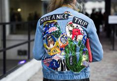 Patches and embroidery on denim