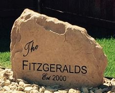 Add style and functionality to your home or apartment with a custom-crafted rock boulder address or welcome sign.