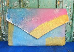 Handmade canvas watercolor envelope clutch, bohemian clutches, artistic bags by MyALaModeBoutique, $48.00