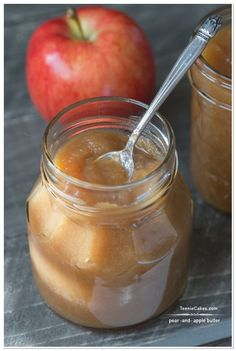 Homemade Pear and Apple Butter slow cooker | TeenieCakes.com #recipe #apple #pear #butter food gifts