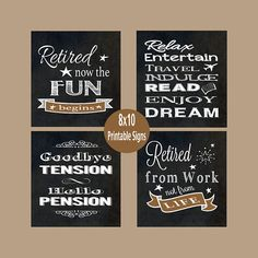 Retirement Signs add instant cheer to any party! These signs make great party decorations and can be Retirement Party Centerpieces, Retirement Decorations, Retirement Celebration, Retirement Party Decorations, Retirement Party Invitations, Retirement Parties, Retirement Quotes, Teacher Retirement, Happy Retirement