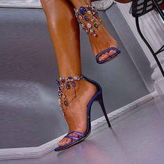 Shoespie Luxurious Purple Color Rhinestone Ankle Wrap Dress Sandals