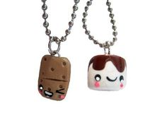 Amazon.com: Smores Campfire Best Friends Necklace - Set of 2 Included!: Jewelry
