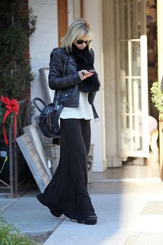 Love this maxi with the biker jacket and cozy scarf + boots.