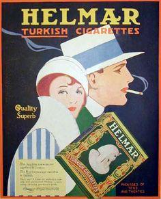 Vintage Ad for Helmar Turkish Cigarettes.