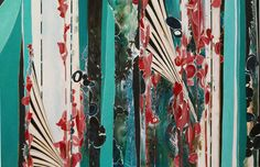 Acrylic Painting on Wood Panel - Turquoise & Pink - I want this for my living room!!