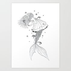 Mermaid. Fantasy. Fairy tale. Black and white drawing. Art by Louie