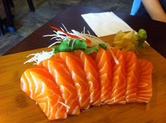 Salmon Sashimi oh dang this photos makes me want to run at a japanese restaurant nearby!