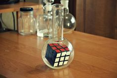 "Original gift for your loved ones, ""Rubik's Cube in a flask"" Man Crafts, Nerd Crafts, Diy And Crafts, Cube Image, Geek Room, Bottles And Jars, Toy Boxes, Hobbies And Crafts, Flask"