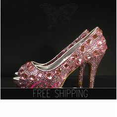 1. Top quality crystals  Snow Diamonds2. Image color - PINK crystals3. featured heels: nbsp;3.5 heels, 3/4 platforms4. 3,300 crystals, custom handmade shoes5. 15 DAYS PROCESSING + shipping time