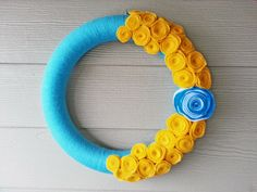 Turquoise Yarn and Gold Felt Flower Wreath