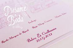 Wedding menu. Wedding Belén & Guillaume. Wedding Planners - Presume de Boda