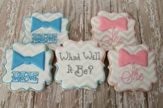 Gender Reveal Party cookies by The Pink Mixing Bowl!