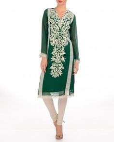 #Exclusivelyin, 80s caftan-style  Forest Green Kurti with Embroidered Patterns  Lace, churidar