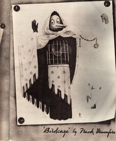 Okay.. so this is not something I could wear. Maybe I need a new pinboard. But I just love the nostalgia, dark magic and whimsy. And it's going to be rebuilt? Bravo! (A page from the 1947 Chelsea Arts Ball Program featuring one of Mr Mumfords 15ft high puppets - which we plan to rebuild...)