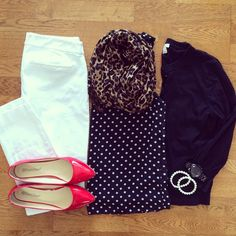 Polka Dot Tank, White Old Navy Pixie Pants, Leopard Scarf, Red Flats | #workwear #officestyle #liketkit | www.liketk.it/19M9B | IG: @whitecoatwardrobe