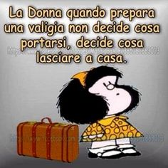 valigia di mafalda Tru Love, Italian Humor, Italian Words, Feelings Words, Funny Pins, Vignettes, Happy Life, Quotations, Verses