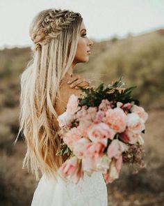 Crown Braid Long Hairstyle Wedding Hair Blonde Bridal within size 1080 X 1350 Wedding Hairstyles With Braids And Flowers - Any woman who has fine or thin Bridal Hair Half Up, Wedding Hair Down, Wedding Hair And Makeup, Wedding Hair With Braid, Wedding Hair Blonde, Boho Bridal Hair, Bridesmaid Hair Half Up Braid, Boho Bridesmaid Hair, Bohemian Wedding Hair