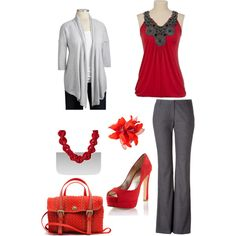 dressy, perfect for a day in town... I especially love the red top