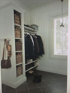 Replace shoe cubby and add Billy bookcase, narrower shelf/cabinet for shoes and… .Replace shoe cubby and add Billy bookcase, narrower shelf/cabinet for shoes and coats/bags above – Heimkino Systemdienste Mudroom, House, Florida Home, Interior, Home, House Styles, House Interior, Coat Storage, Narrow Shelves