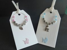 Set of Personalised Wine Glass Charms Gift Tags Baby Shower Party Favours Pink Blue Girl Boy