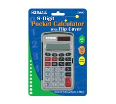 Basic school calculator.  Calculator is small, durable, and has a flip cover that can protect the buttons and screen when it is in storage or inside a bag.  Screen shows 8 digits, so your work can be more precise without rounding. Cover is great as it protects the calculator if it is dropped.  These traditional school calculators are perfect for any grade level, as they all do the basic required math. They are also ideal for the home or office, so kids can do their homework or for employees…