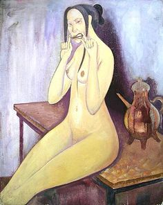 Naked with a Jew's-harp nude art - oil painting by Maiorshin Sergey from Russia.