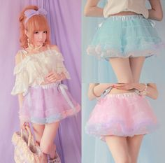 Pastel Cute Rainbow Color Organza TUTU Petticoat Pant-skirt Free Ship SP141113 #jfashion #coser