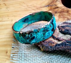 Marbled Copper Bangle.  3.5 X 24 mm Thick and Wide.  Molten Copper Core. by NAKOBI on Etsy