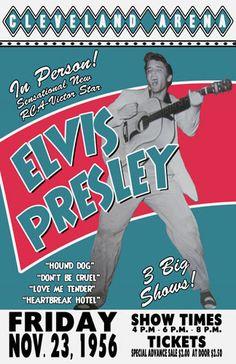 for jeff's grandma- for christmas to frame     Elvis Presley 1956 Cleveland Concert Poster. $15.00, via Etsy.