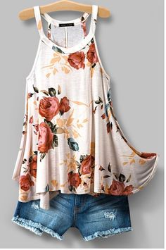 Romantic Floral print top with racer back. Jersey flow top. 100% Rayon Made in USA