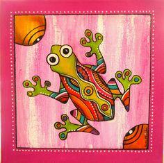 """Peinture de """"Pixie"""" la petite grenouille : Décorations murales par sylphide Dot Painting, Stone Painting, Art Carte, Arte Country, Art Populaire, Scratch Art, Coloring Book Art, Madhubani Painting, Indigenous Art"""